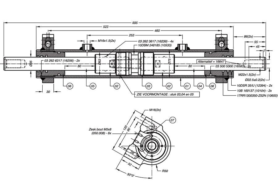 Onderdelen hydraulische cilinder